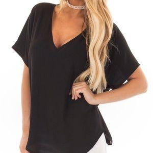 Lush black semi sheer v neck top/blouse